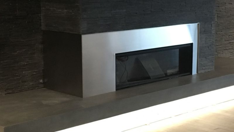 silver metal fireplace surround