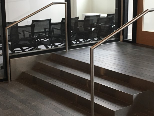 stainless handrails and steps