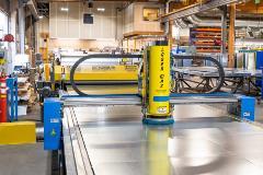 up close of a laser cutting machine